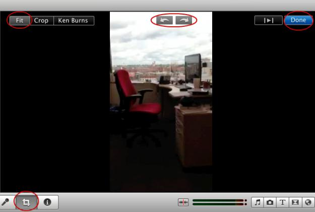 Rotate video in crop menu