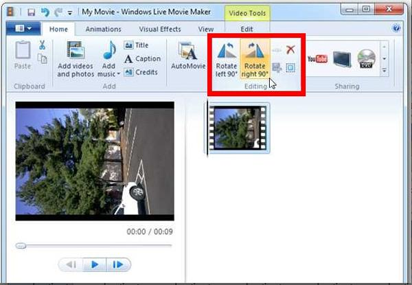 Rotate video with Windows Movie Maker
