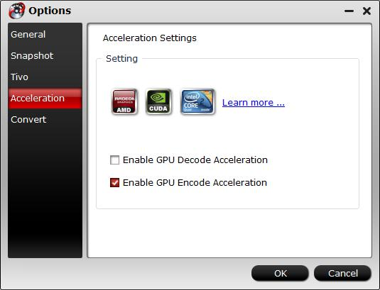 Enable GPU acceleration for H.264 codec encoding