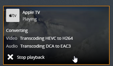 Stream H.265 to Apple TV 4K via Plex